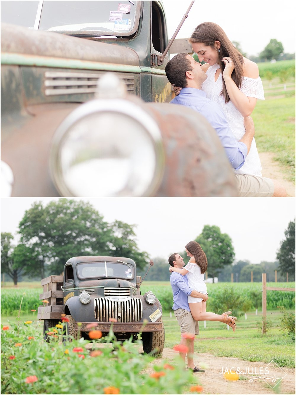 natural light engagement photos on a farm in nj