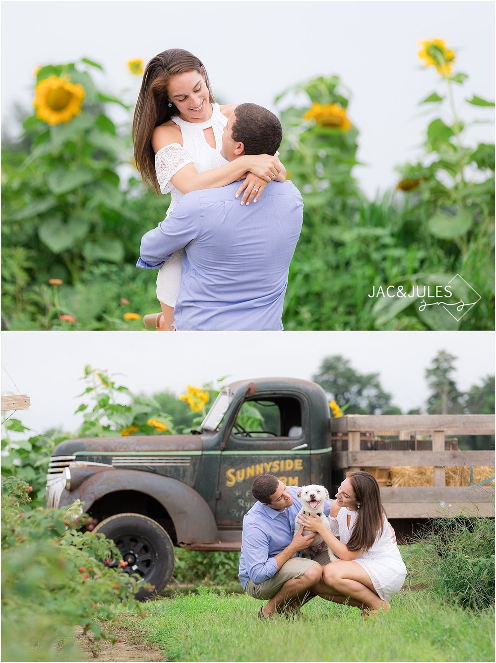 romantic engagement photos on a farm in nj