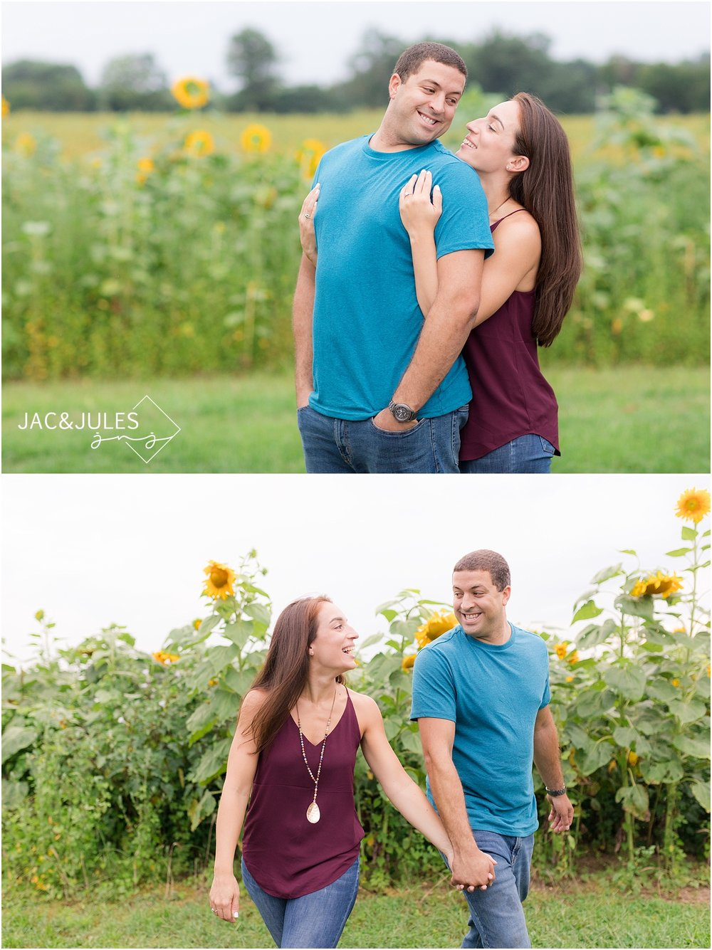 fun engagement photos in a sunflower field in nj