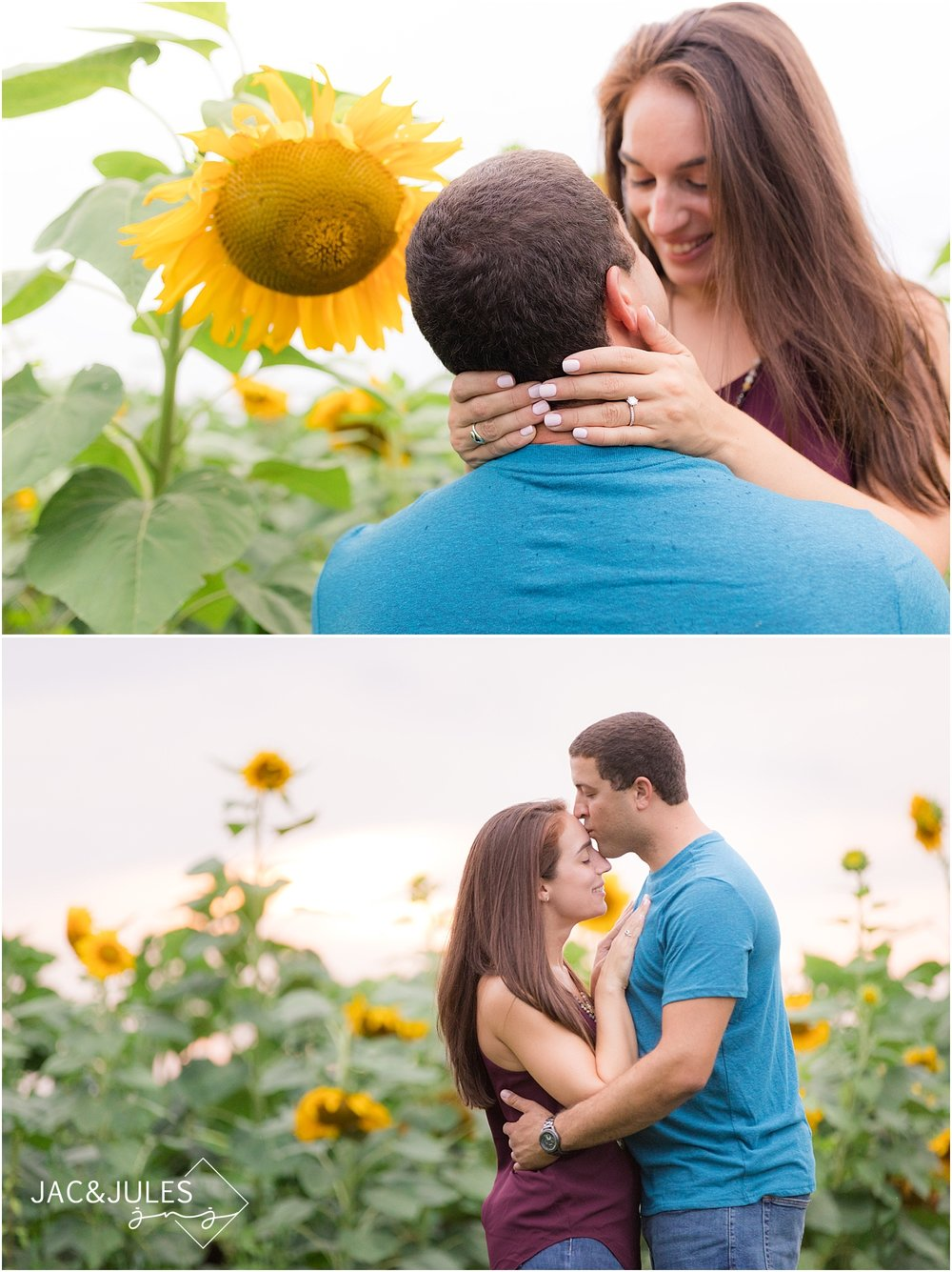 sunset engagement photos in a sunflower field
