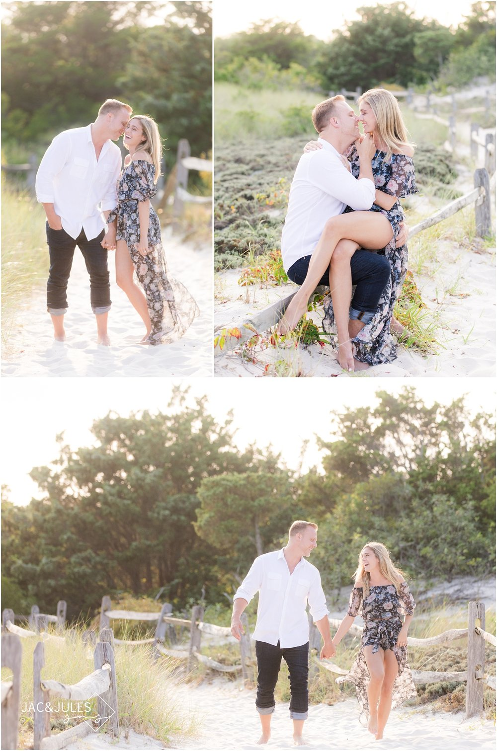 fun engagement photos on the beach in Seaside Park, NJ.