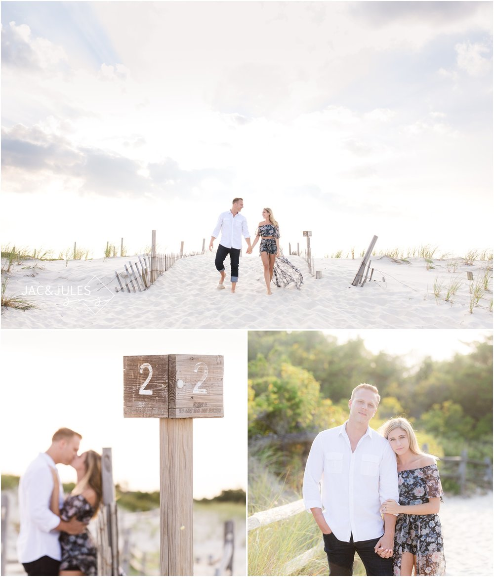 beach engagement photos at the Jersey Shore