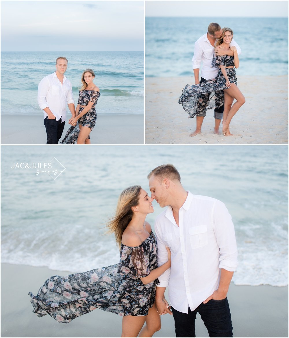 romantic engagement photos on the beach in Seaside Park, NJ.