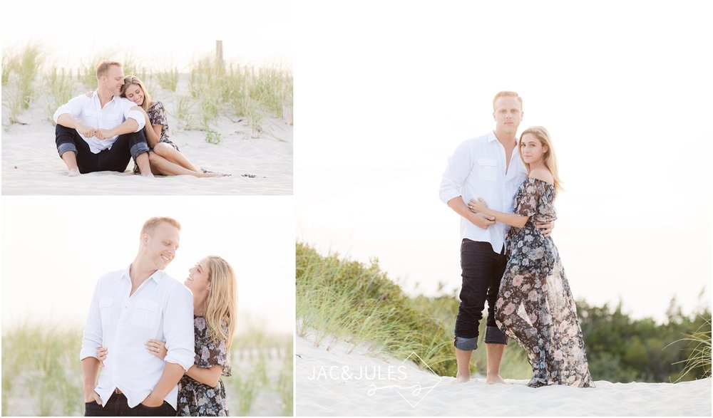 sweet romantic engagement photos on the beach in Seaside Park, NJ.