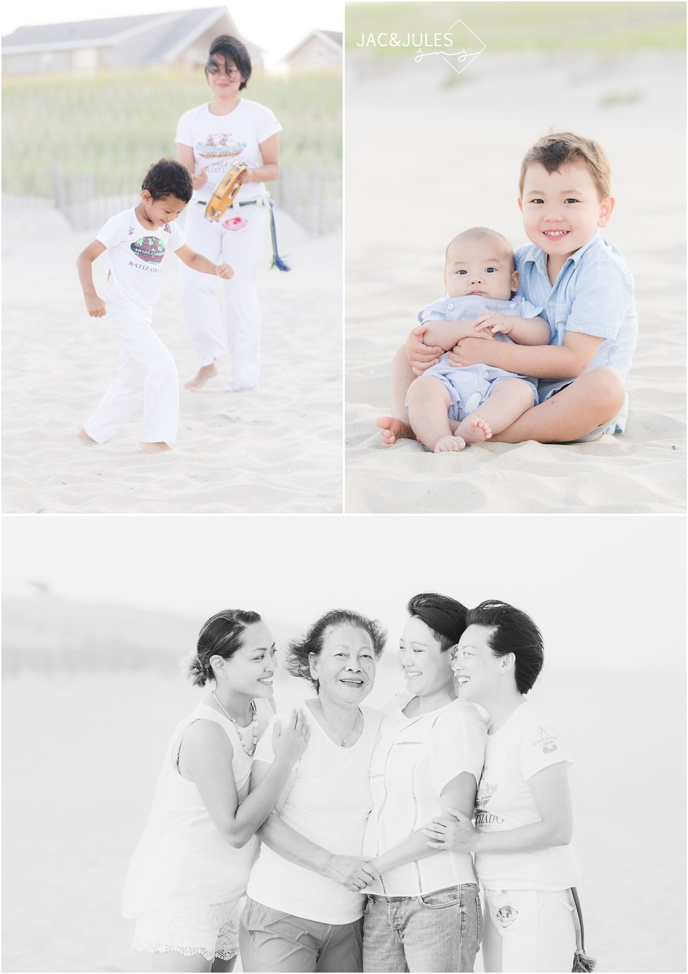 Fun Family photos on the beach in LBI