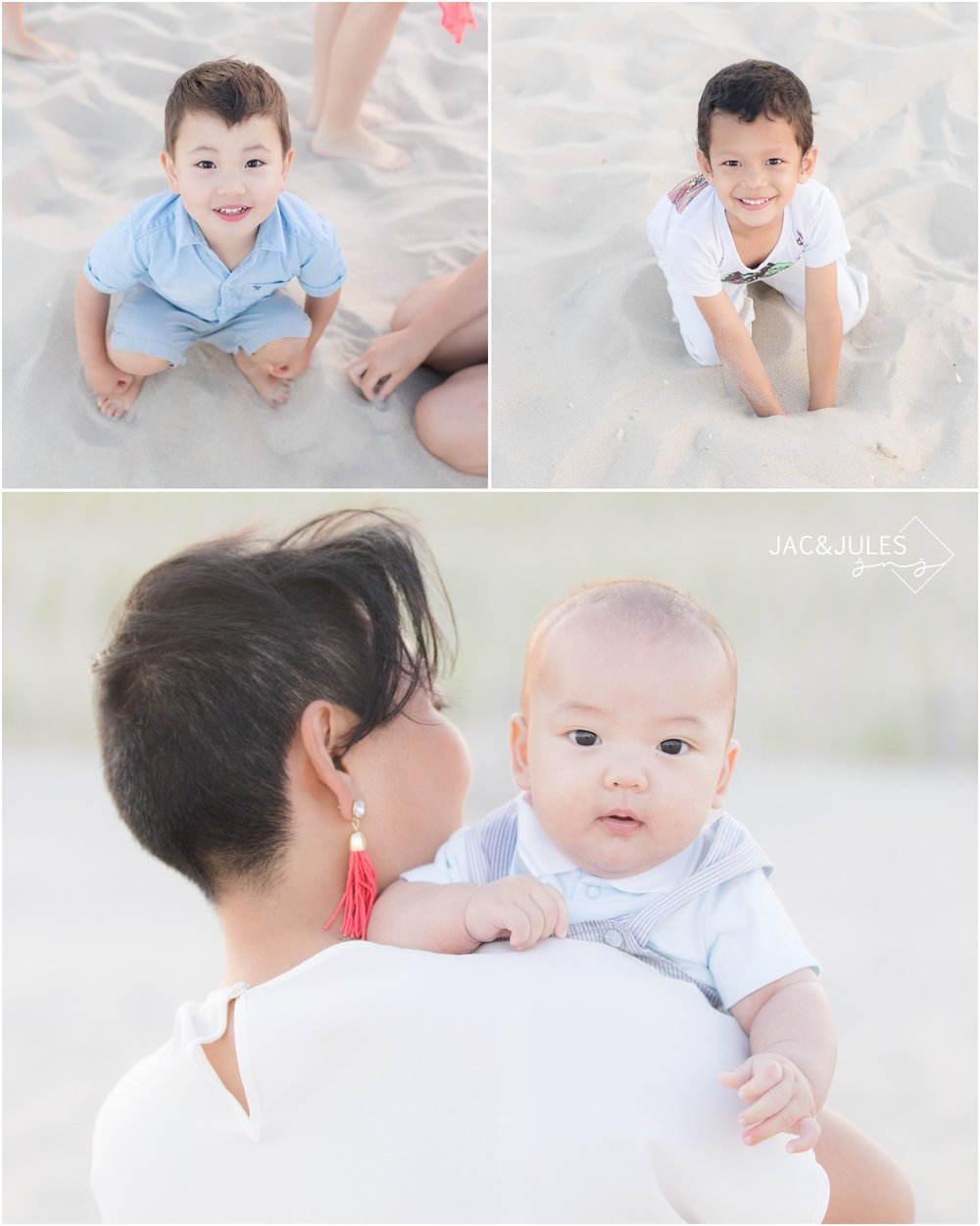 Candid Family photos on the beach in LBI