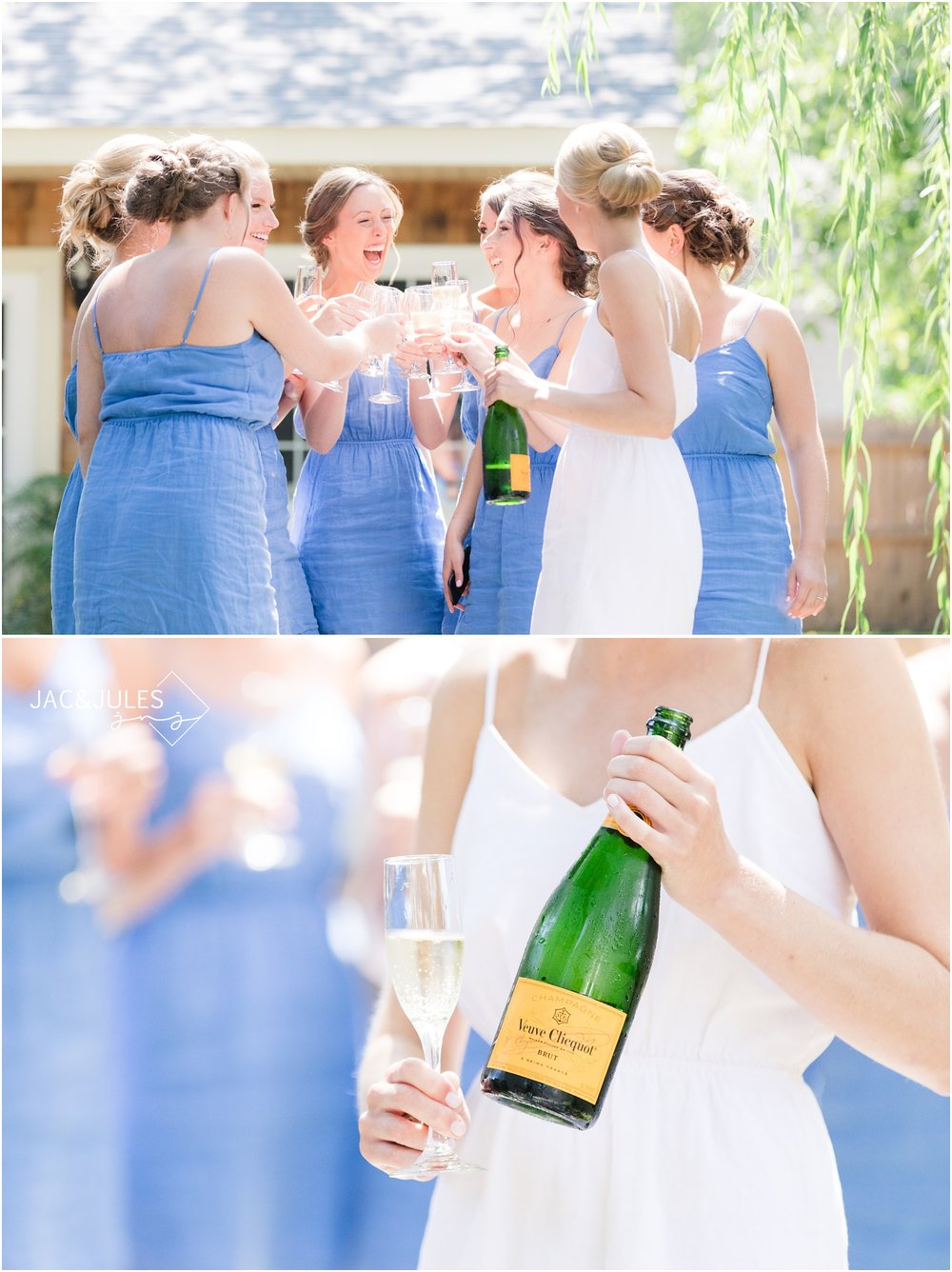 Bridesmaids champagne toast in Bay Head, NJ.