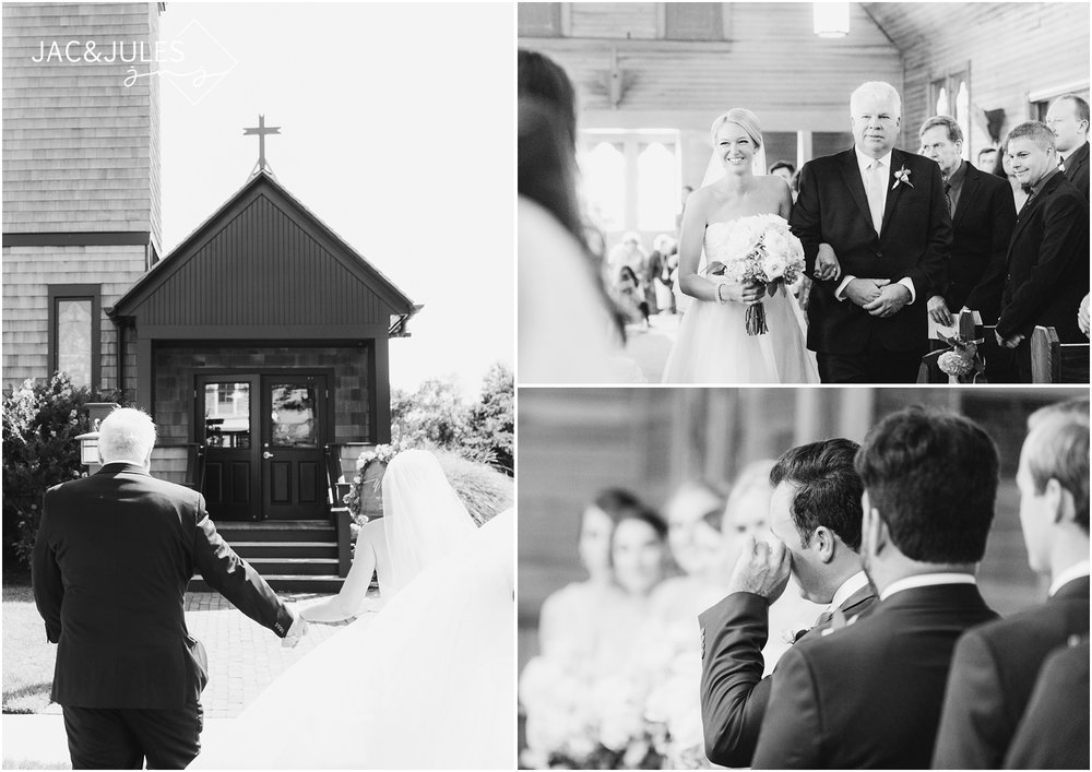 Dad walking bride down the aisle and groom tearing up at All Saints Church in Bay Head, NJ.
