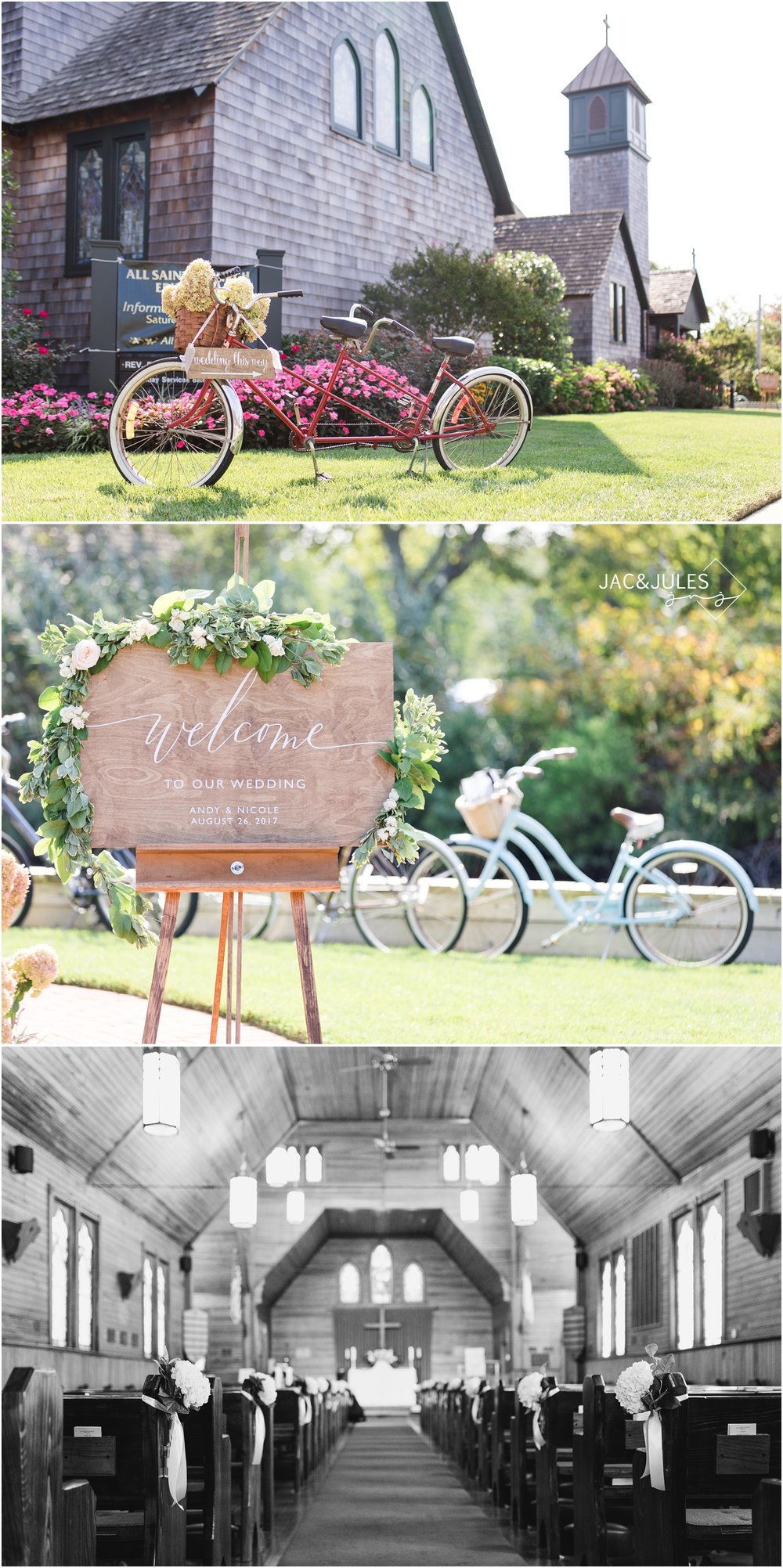 Bicycle and Wedding sign decor at All Saints Church in Bay Head, NJ.