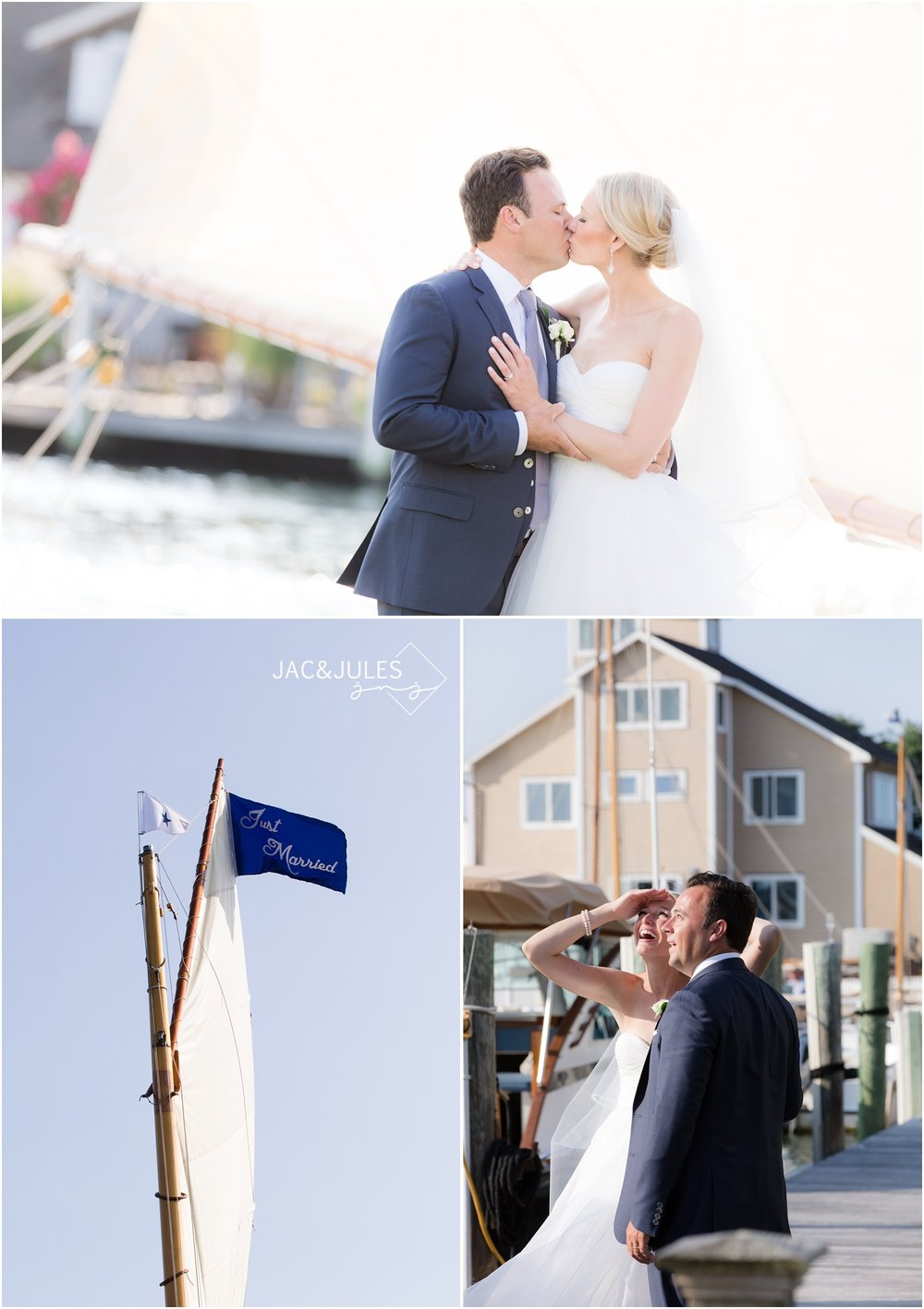 bride and groom photos on the dock in Bay Head, NJ.