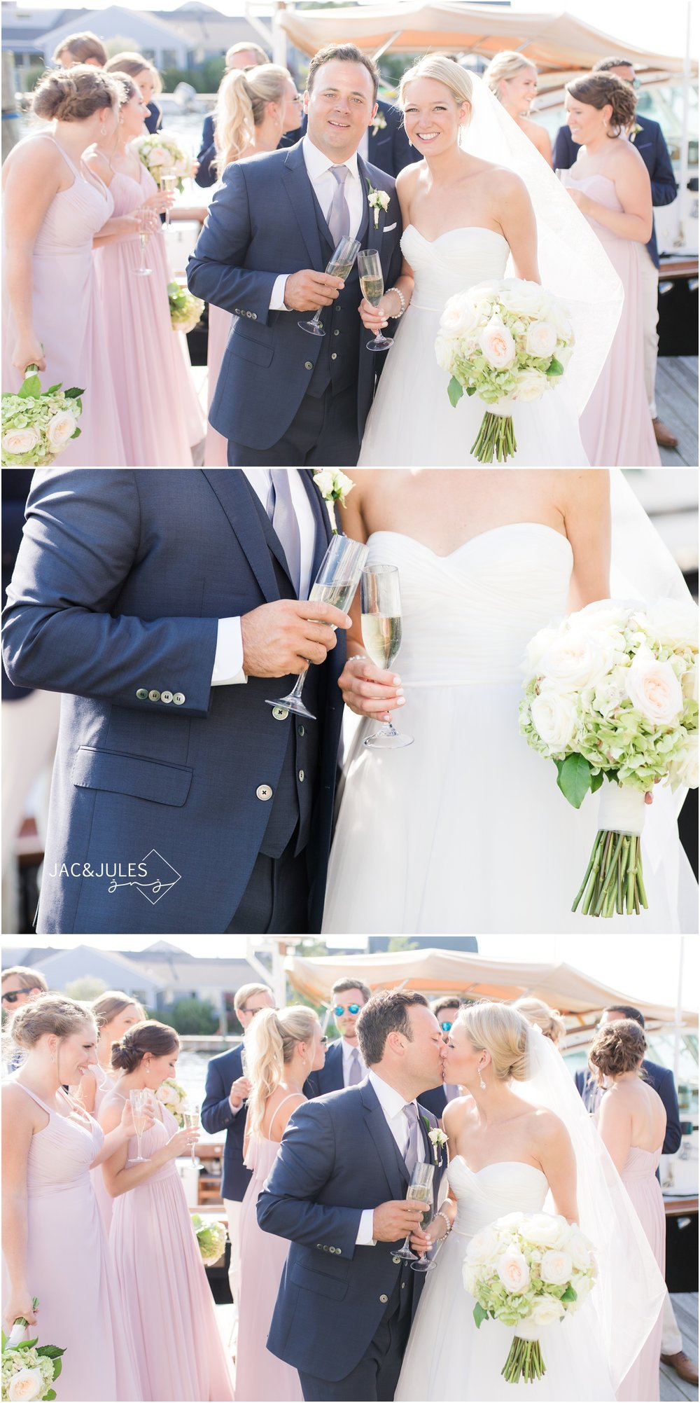 Newlywed toast photos on the dock in Bay Head, NJ.