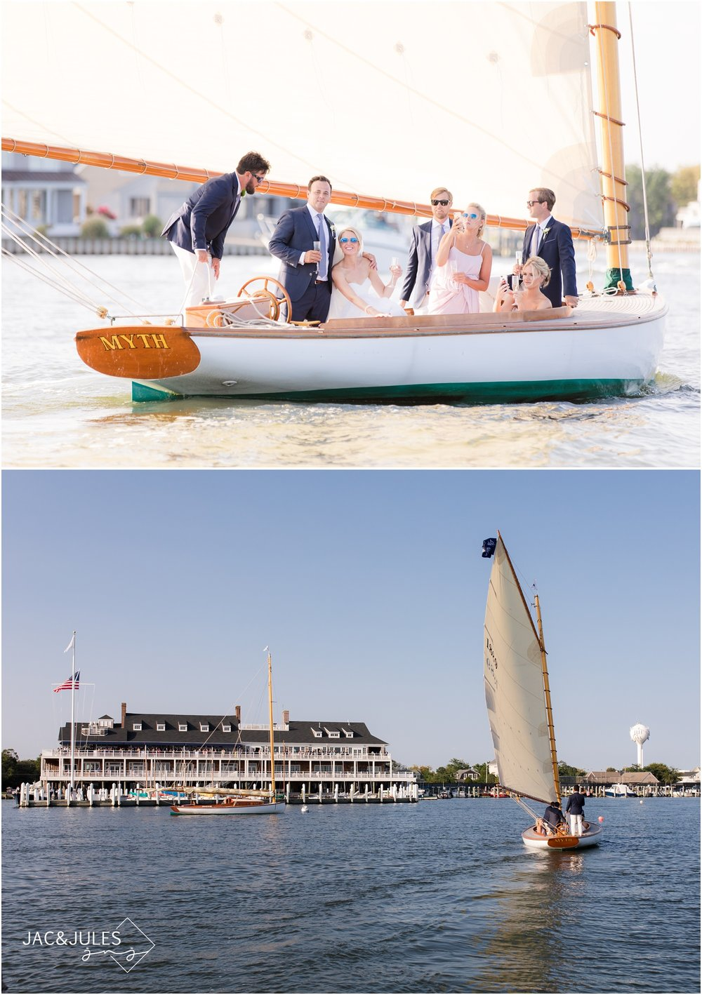 Bride and groom traveling by sailboat to Bay Head Yacht Club.