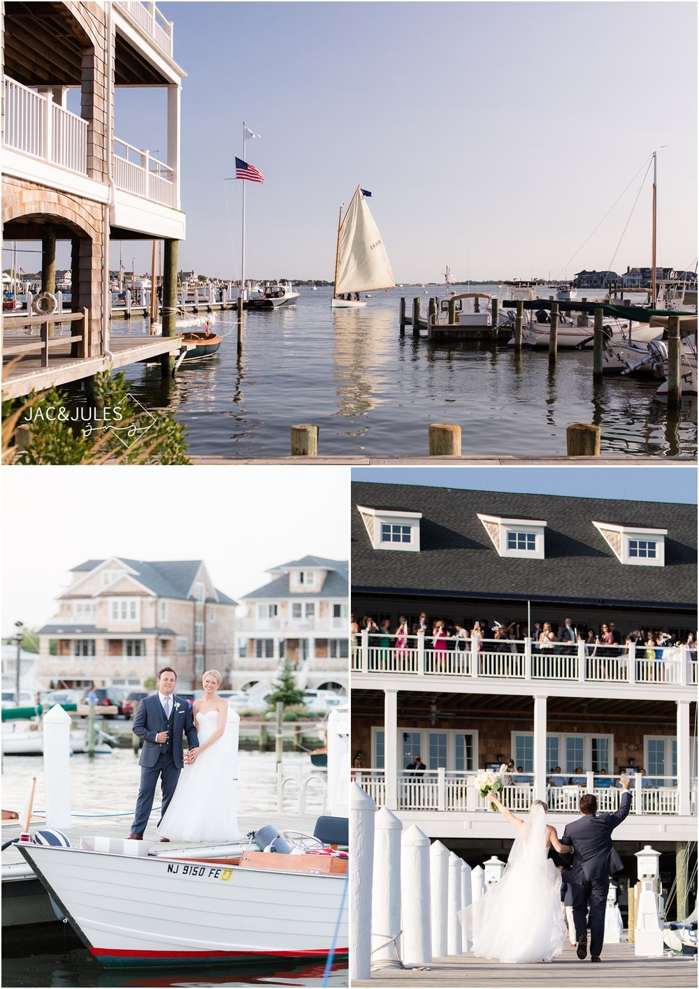 Bride and groom arriving to Bay Head Yacht Club by sailboat.