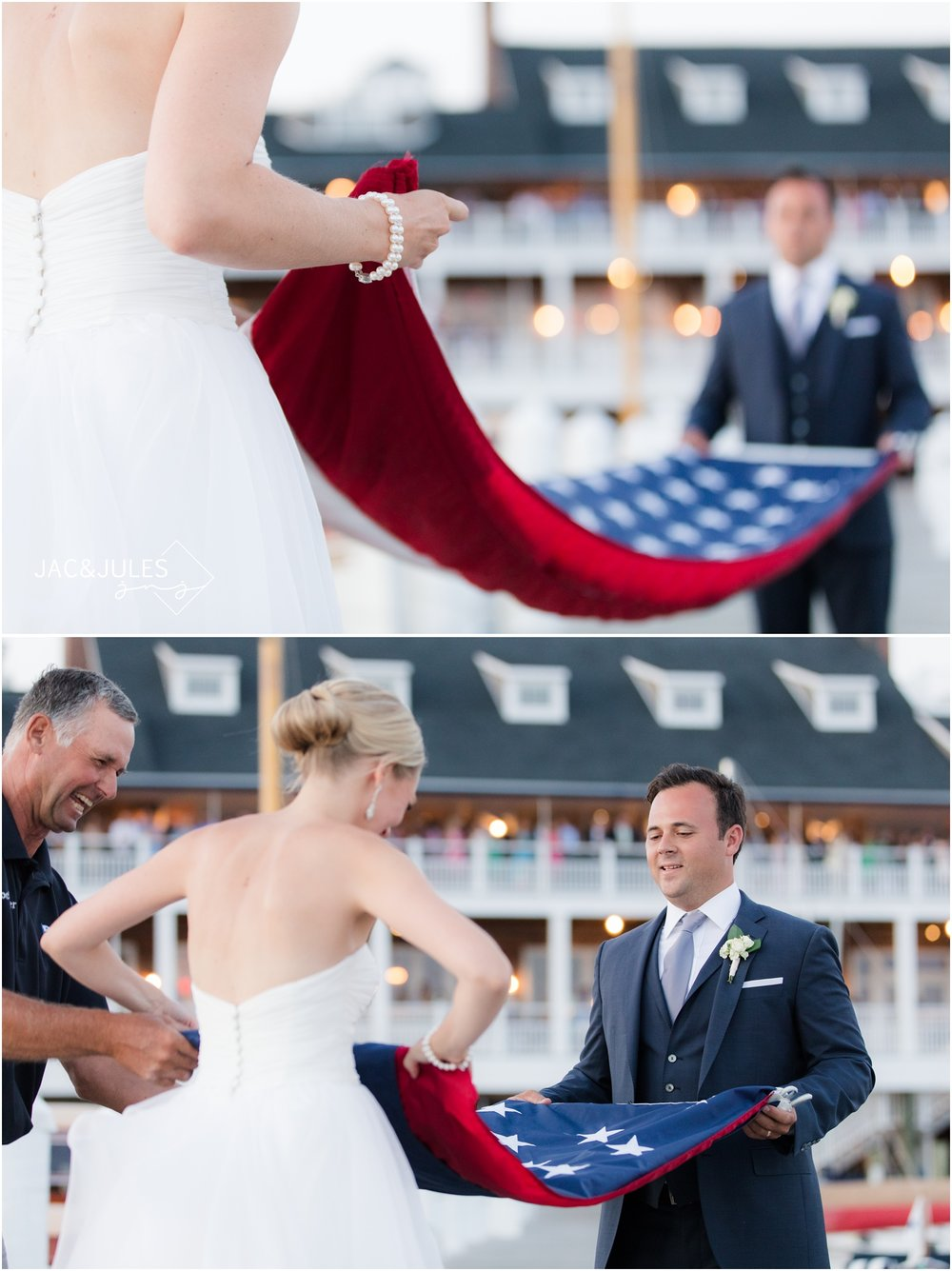 Sunset flag ceremony with bride and groom at Bay Head Yacht Club.