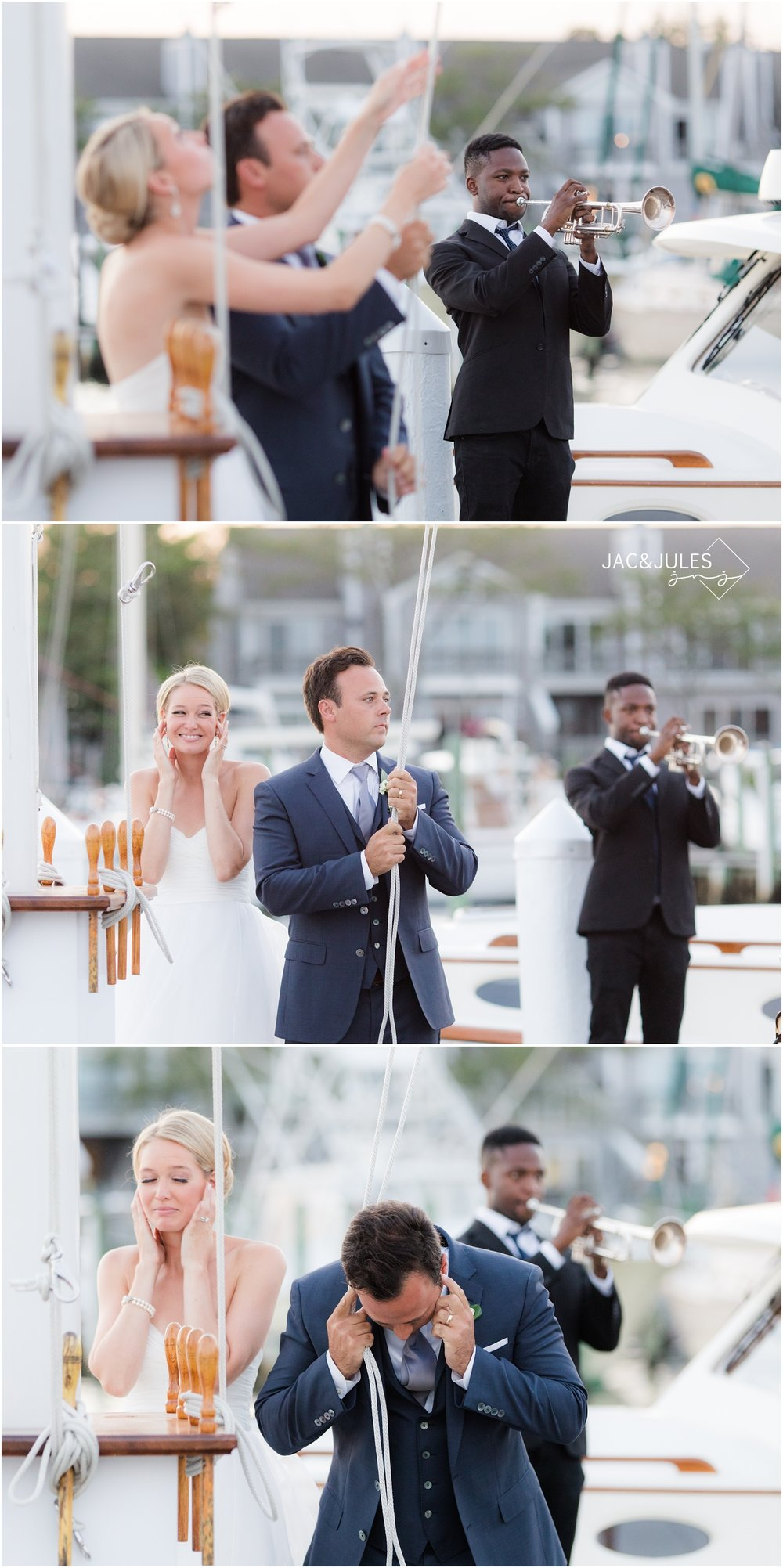 Bride and groom lowering flag at Bay Head Yacht Club.