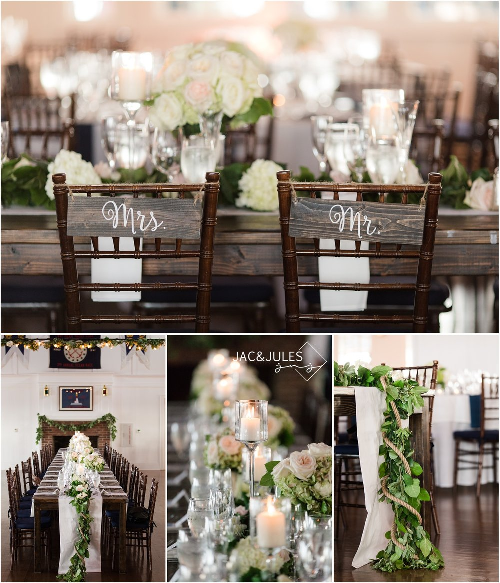 Wedding reception decor at Bay Head Yacht Club with Flowers By Melinda.