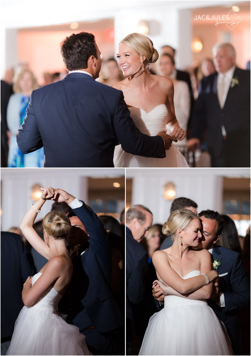 Bride and groom first dance at Bay Head Yacht Club.