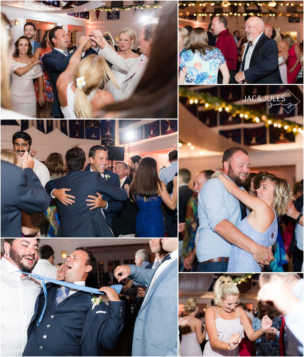 Fun dancing photos from wedding reception at Bay Head Yacht Club in Bay Head, NJ.