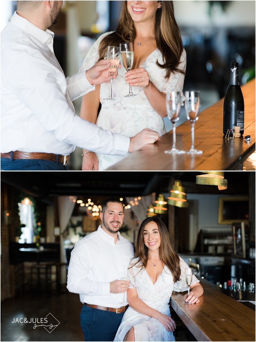 Engagement photos at Grand Vin in Hoboken, NJ.