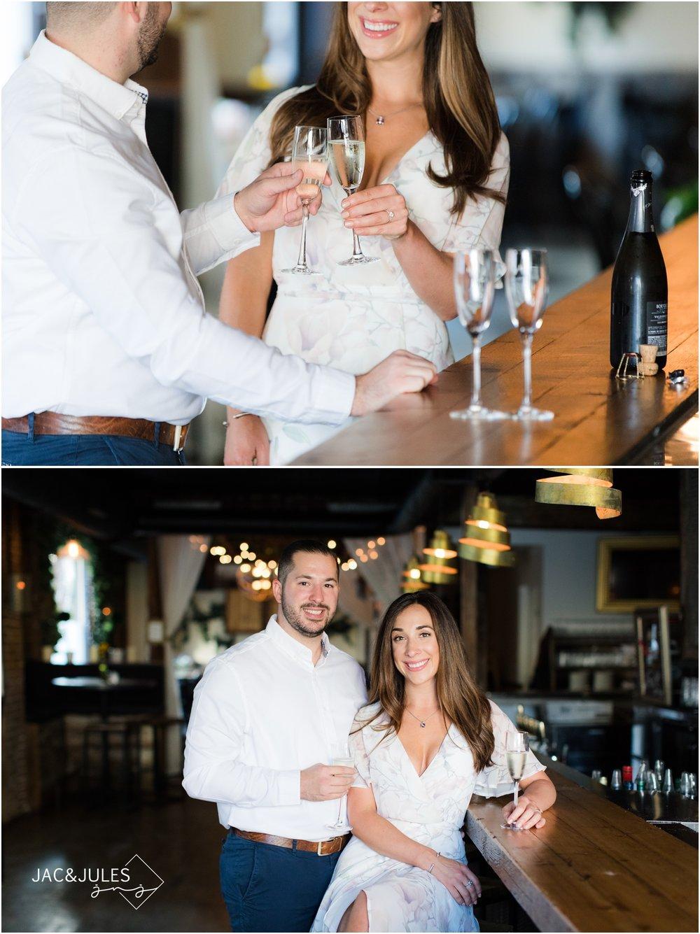 Engagement photos at Grand Vin in Hoboken, NJ.