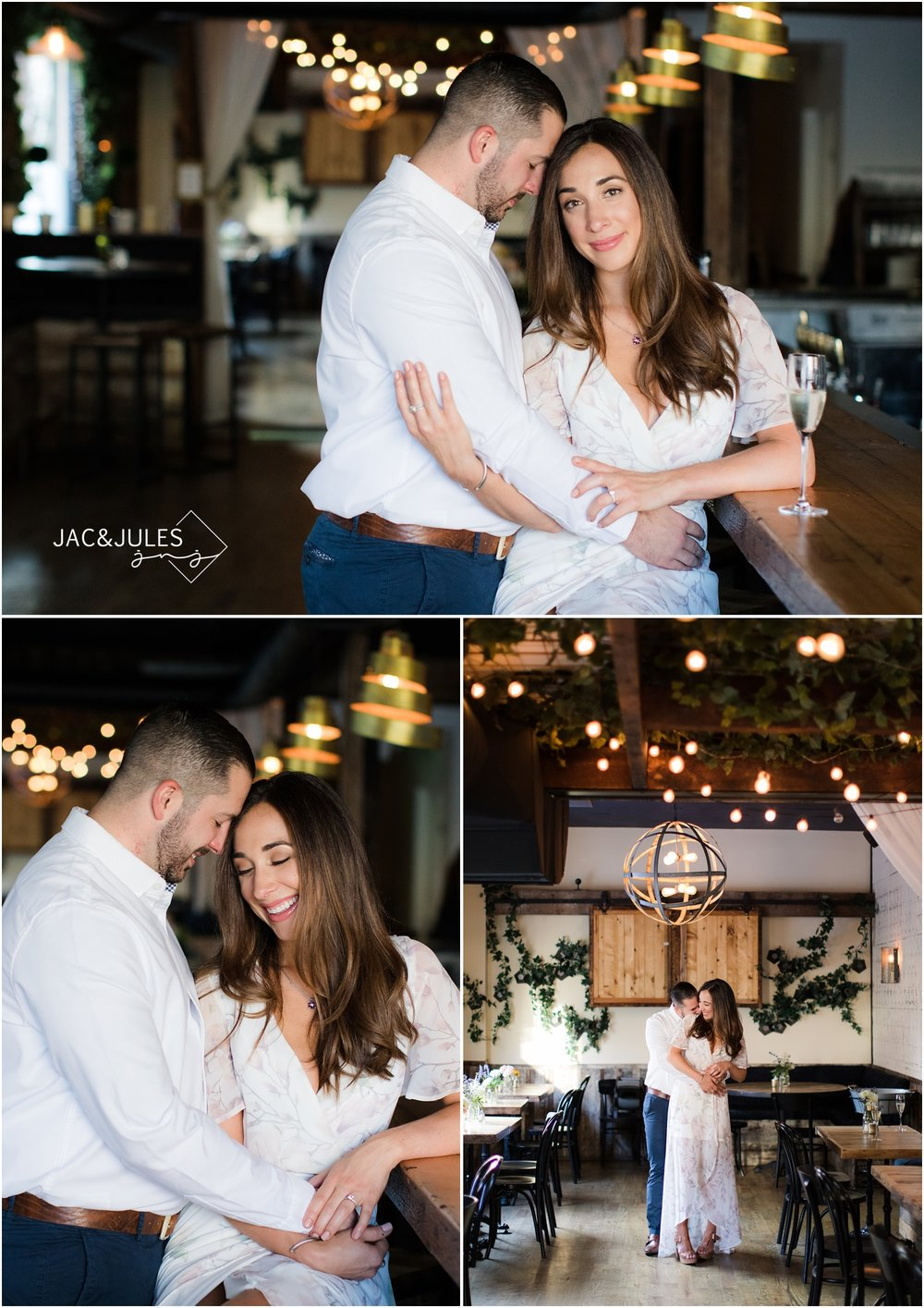 Romantic Engagement photos at Grand Vin in Hoboken, NJ.