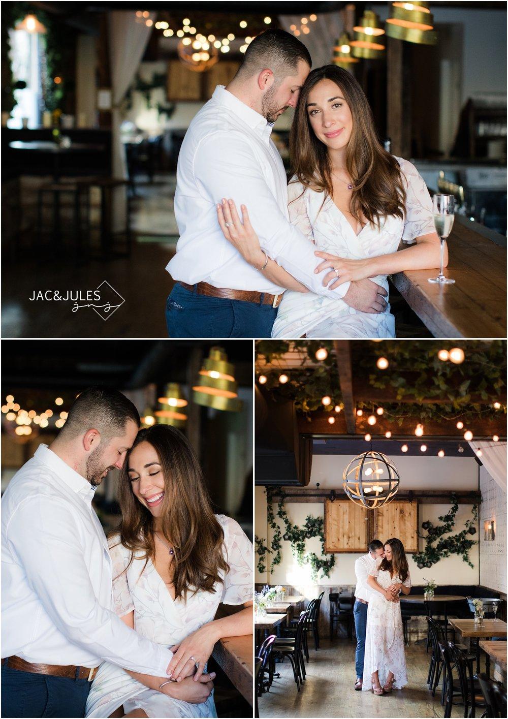 Romantic Engagement photos at Grand Vin in Hoboken, NJ.