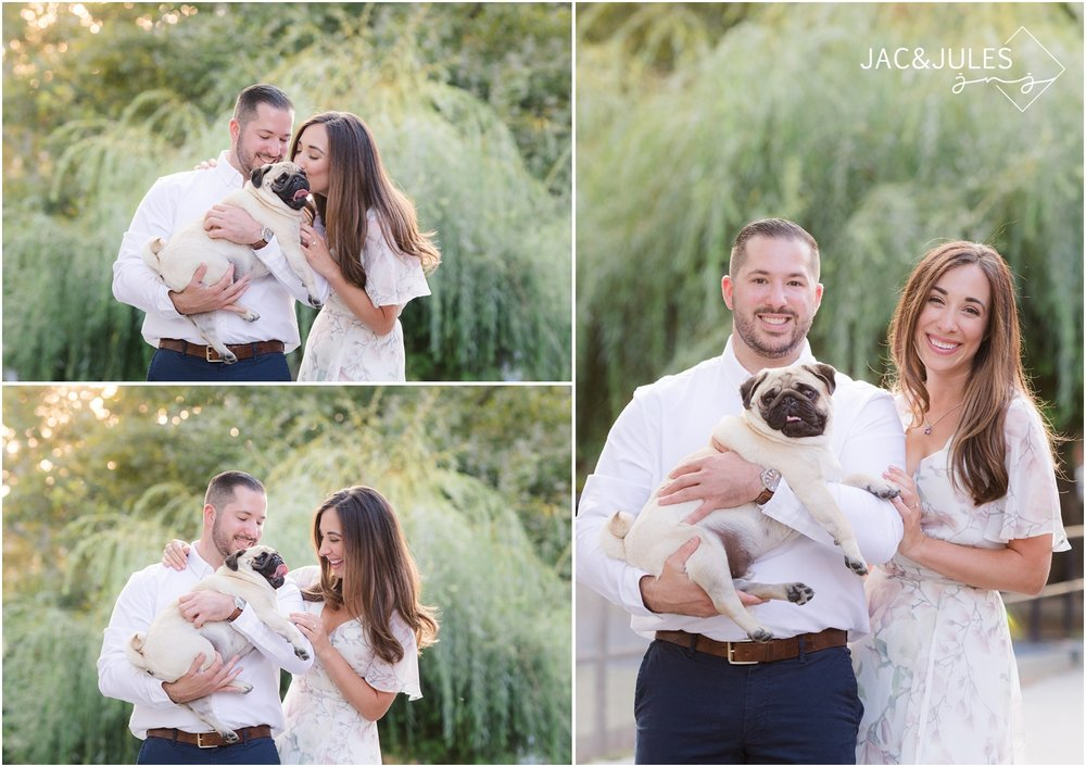 Engagement photos with dog in Hoboken, NJ.
