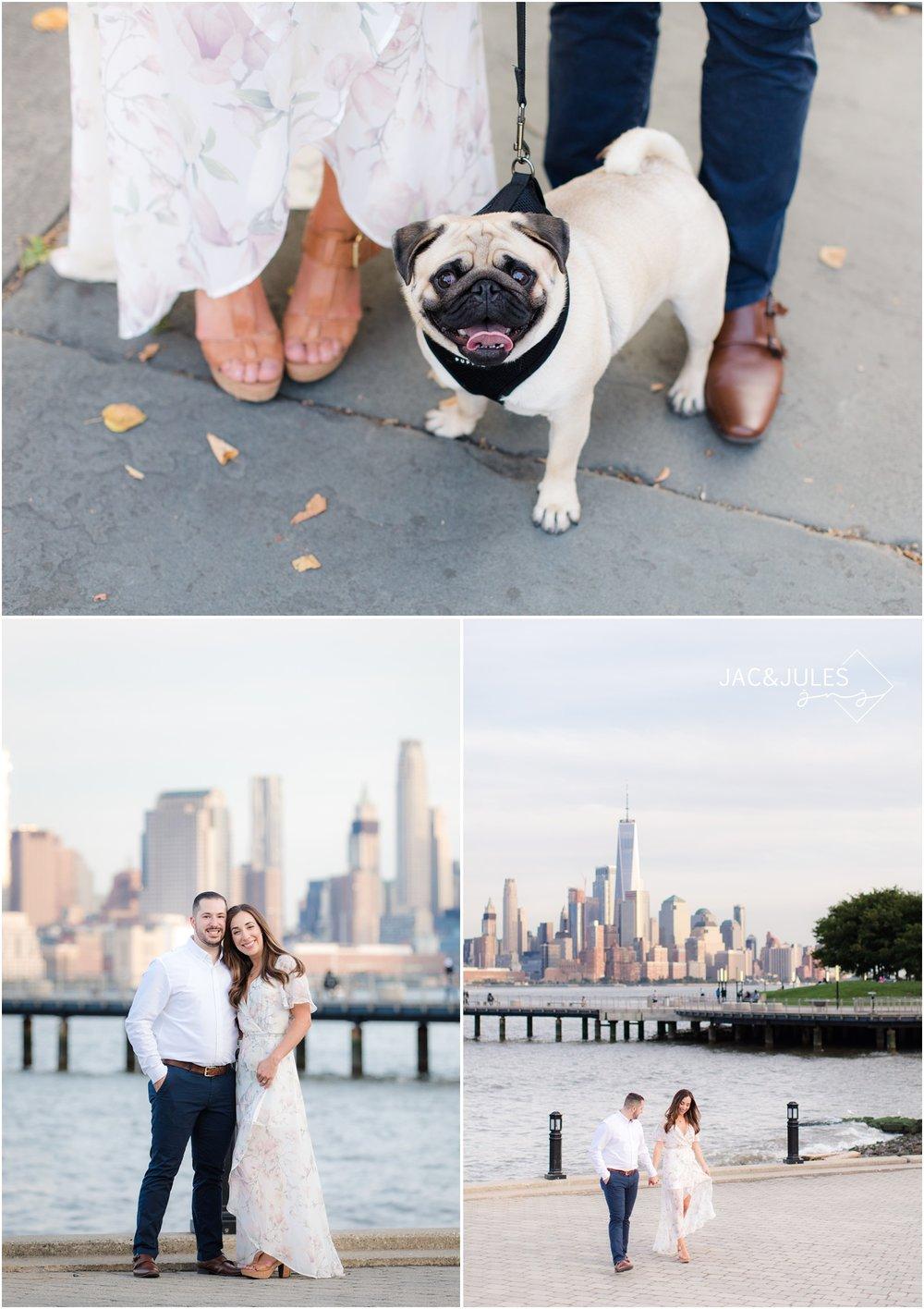 funEngagement photos with NYC skyline in Hoboken, NJ.