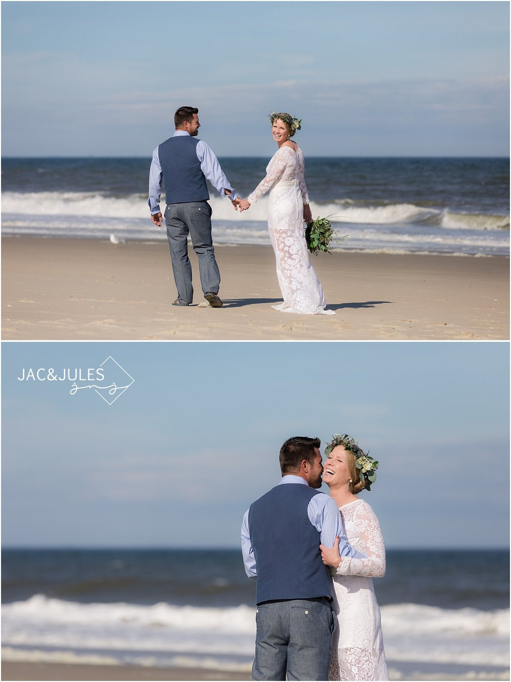 bride and groom wedding photos on the beach in sea girt nj