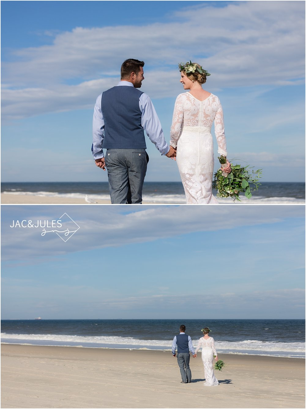 bride and groom take pictures on the beach in sea girt nj
