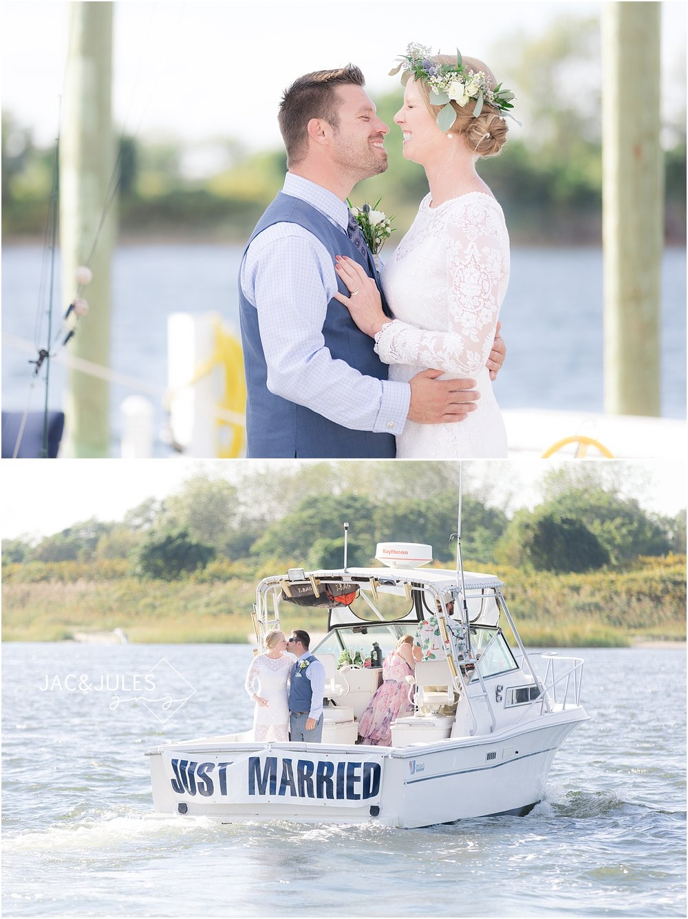 romantic wedding photos on a boat in shrewsbury nj