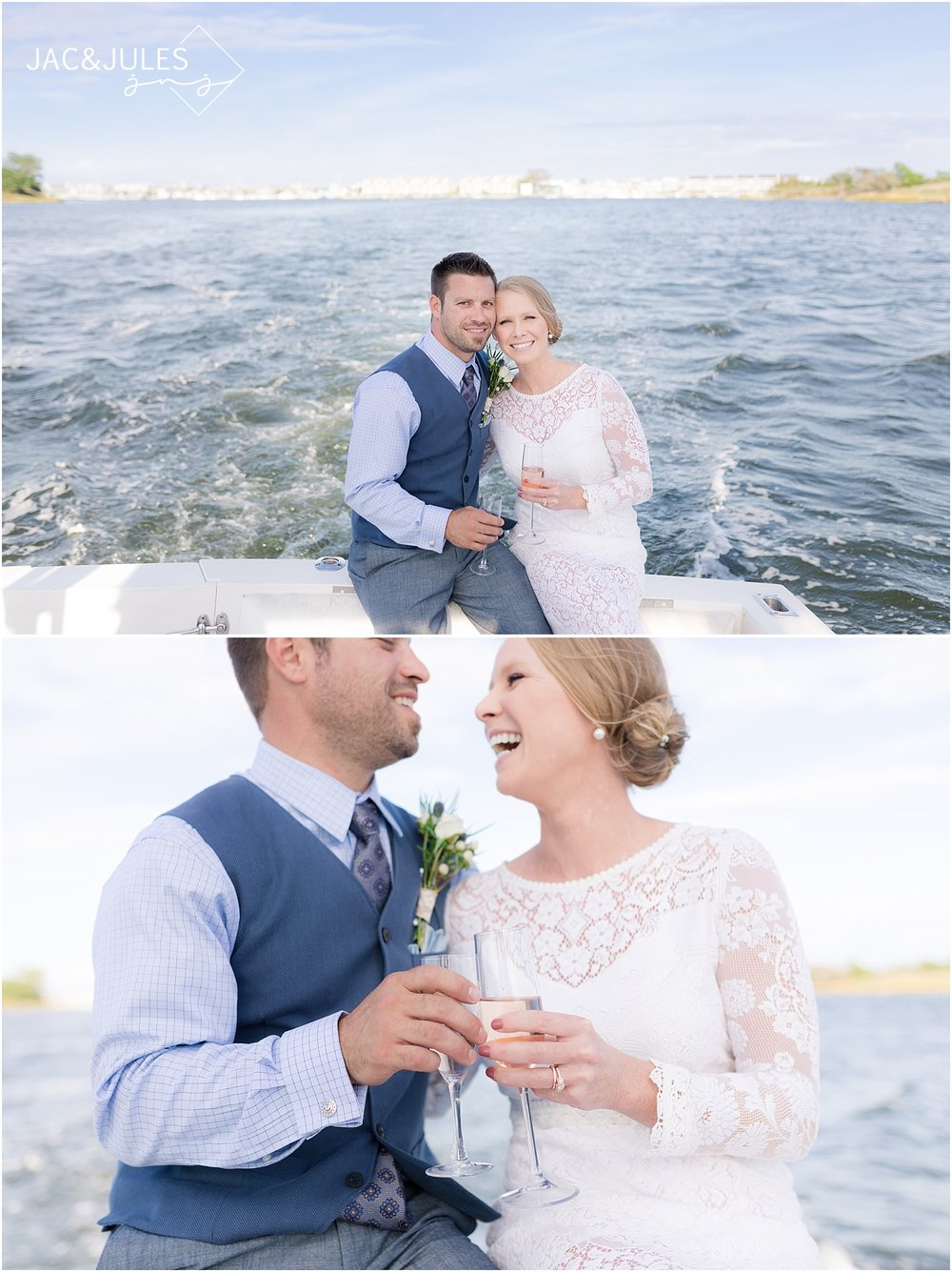 romantic boat ride with bride and groom in nj