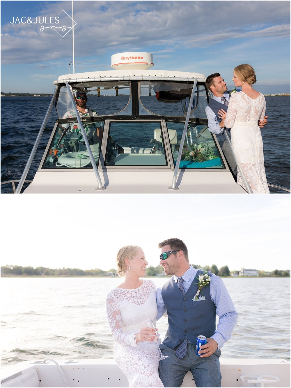 fun wedding photos on a boat in new jersey