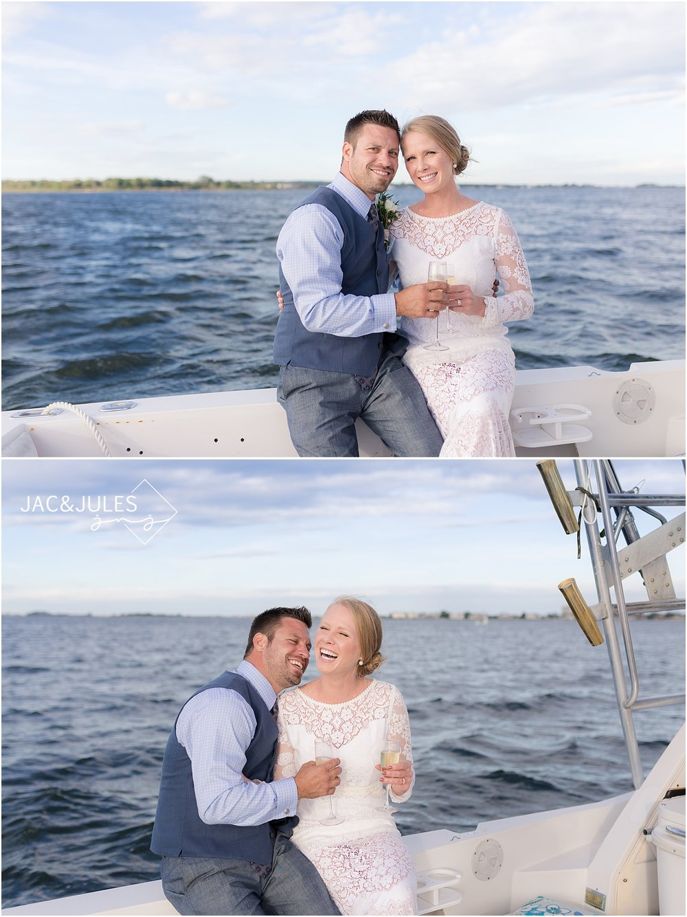champagne toast for bride and groom on a boat in shrewsbury nj