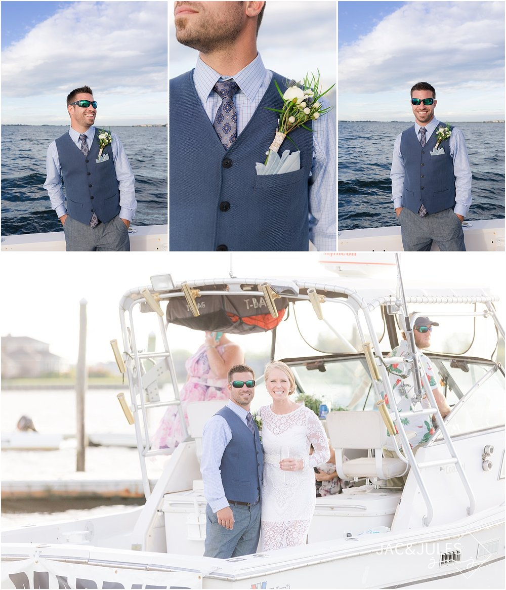 wedding portraits on a boat in shrewsbury nj