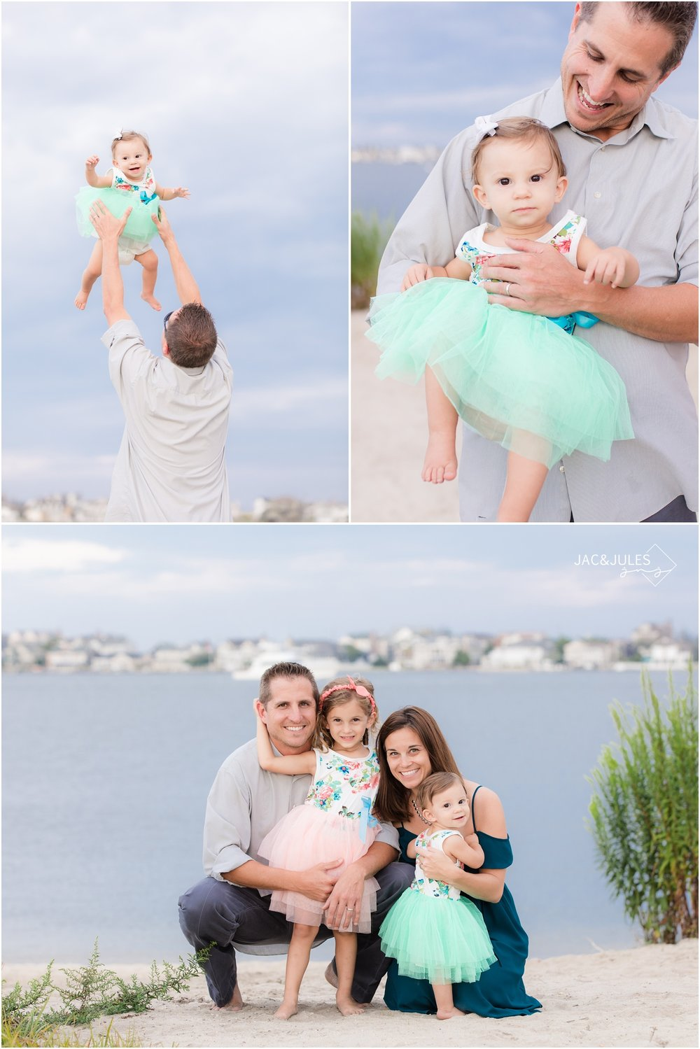 fun photos with dad on the bay in Mantoloking, NJ.