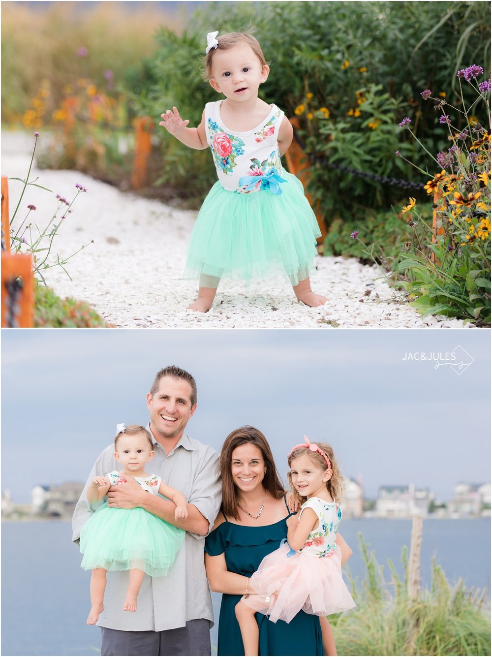 First birthday girl and her family on the bay in Mantoloking, NJ.