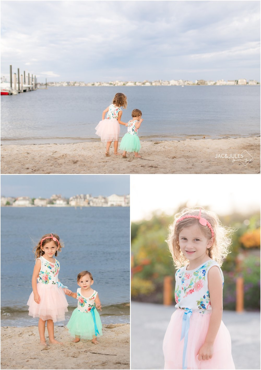 photo of sisters by the bay in Mantoloking, NJ.