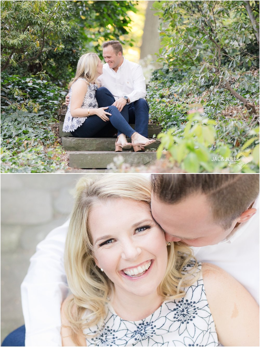 Fun casual Engagement photos at Van Vleck House and Gardens in Montclair, NJ.