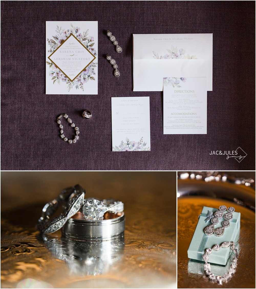wedding invitation suite and bridal jewelry in Shrewsbury, NJ.