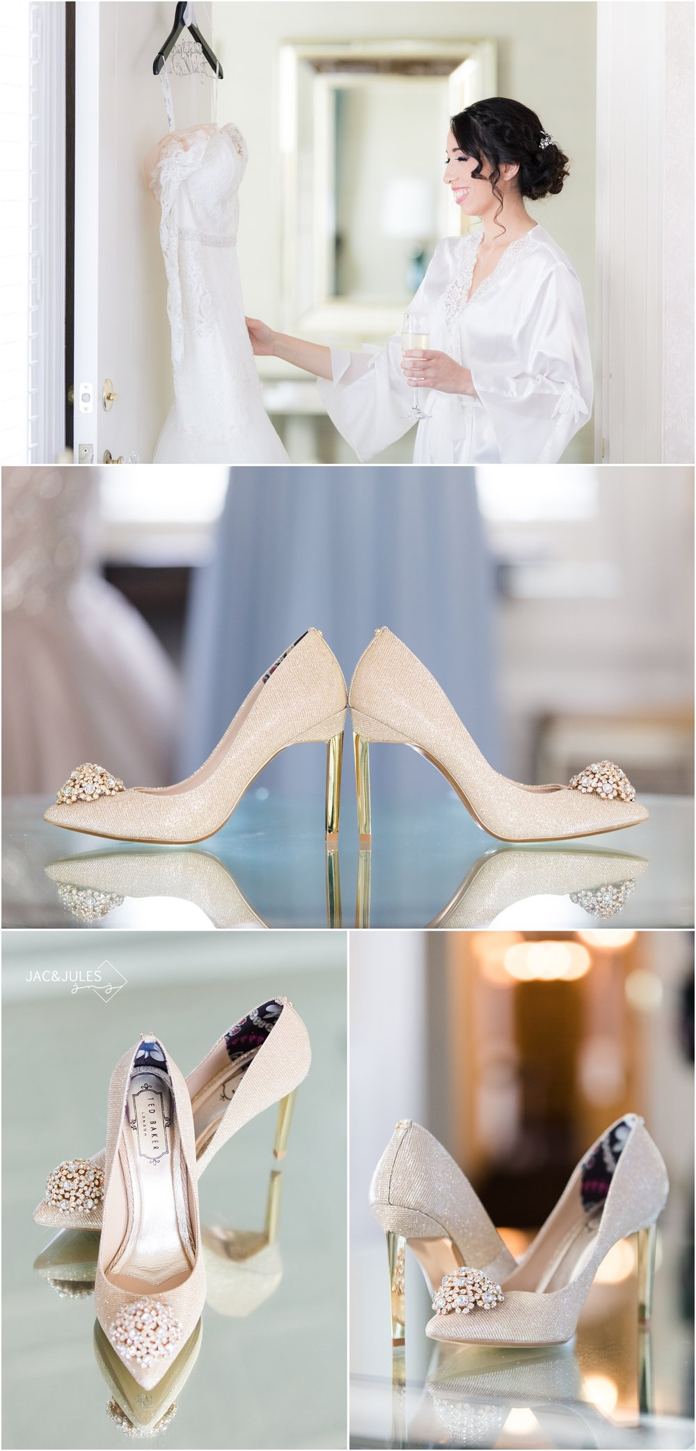 Bridal gown and shoes at The Shadowbrook in Shrewsbury, NJ.