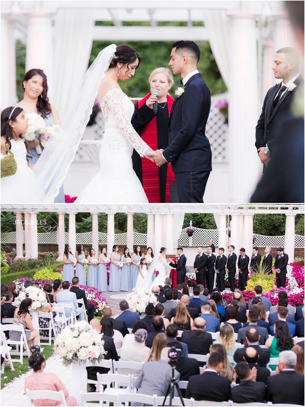 Garden wedding ceremony at The Shadowbrook in Shrewsbury, NJ.