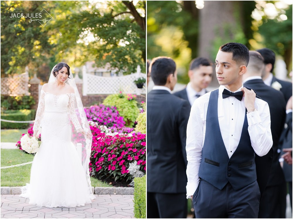 Pretty Bride portrait and handsome groom picture at The Shadowbrook in Shrewsbury, NJ.