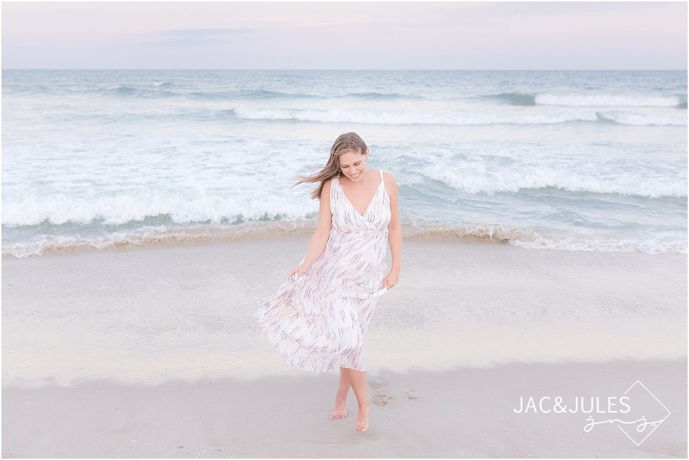 natural light maternity picture on beach in nj