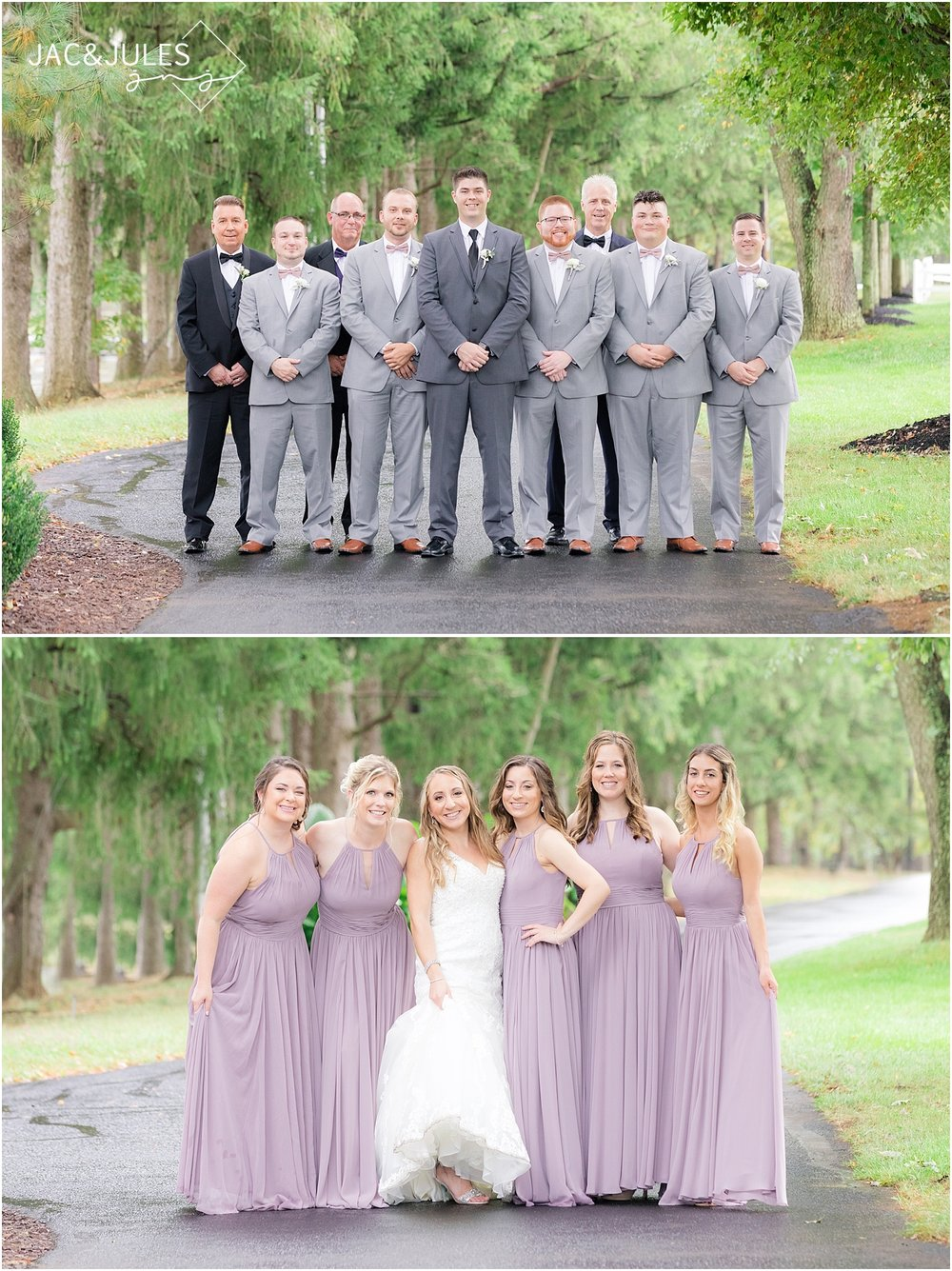 bridesmaids in lavender dresses and groomsmen in gray suits portraits at frogbridge