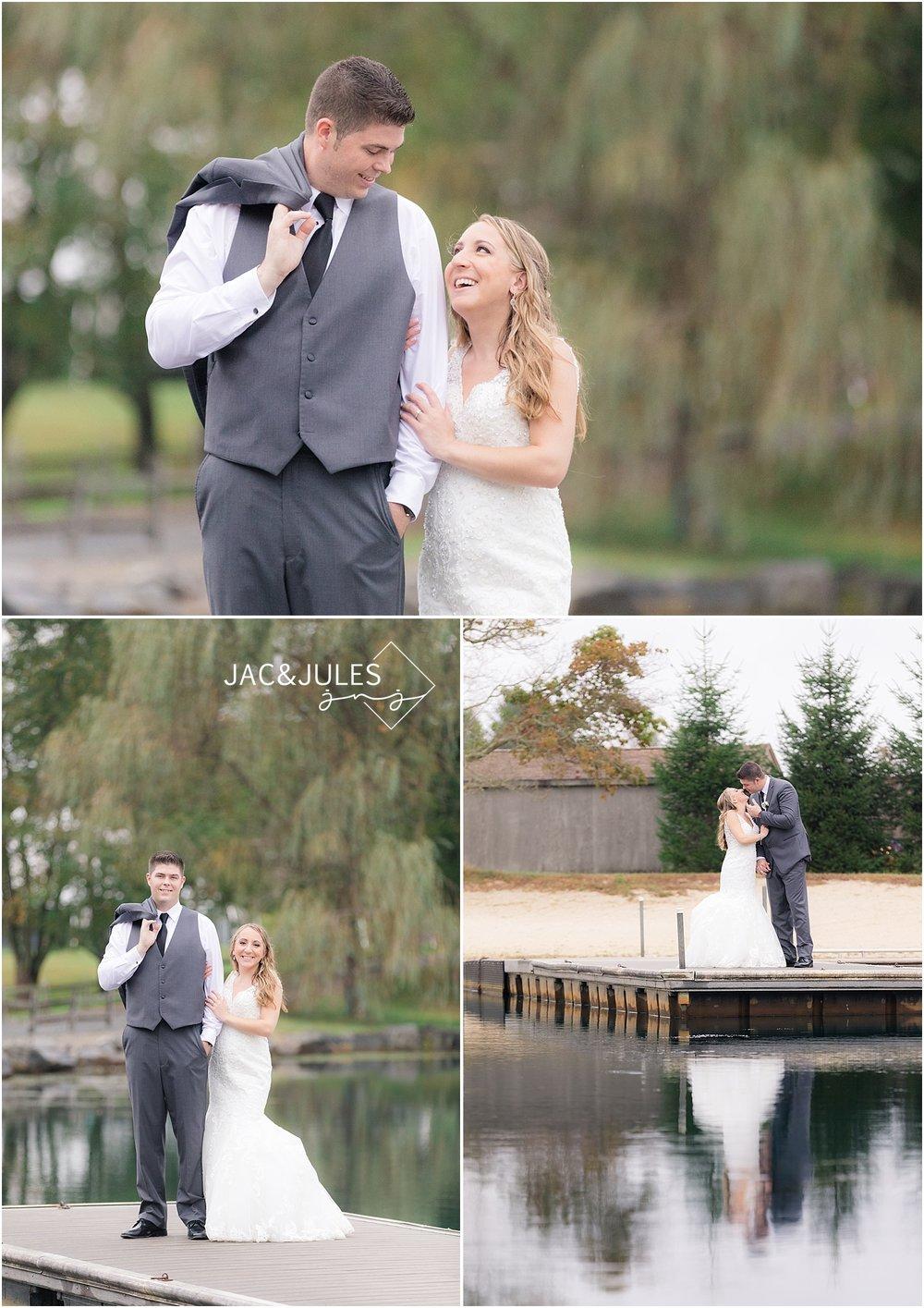 wedding photo on the dock at frogrbidge