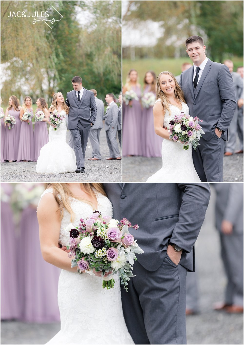 lavender bouquet and bridal party wedding photo at frogbridge