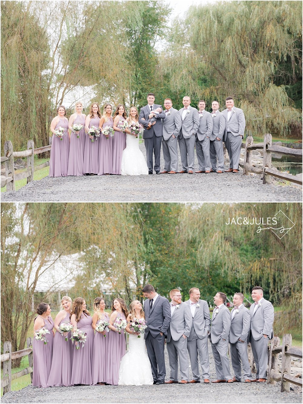 bridal party in lavender dresses and gray suits at frogbridge wedding