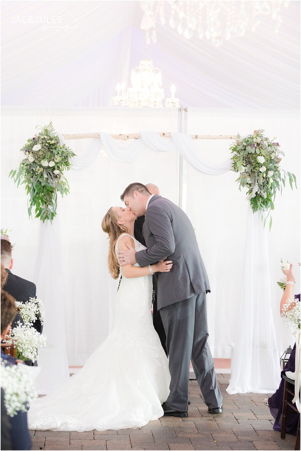 wedding ceremony at windows on the water at frogbridge in nj