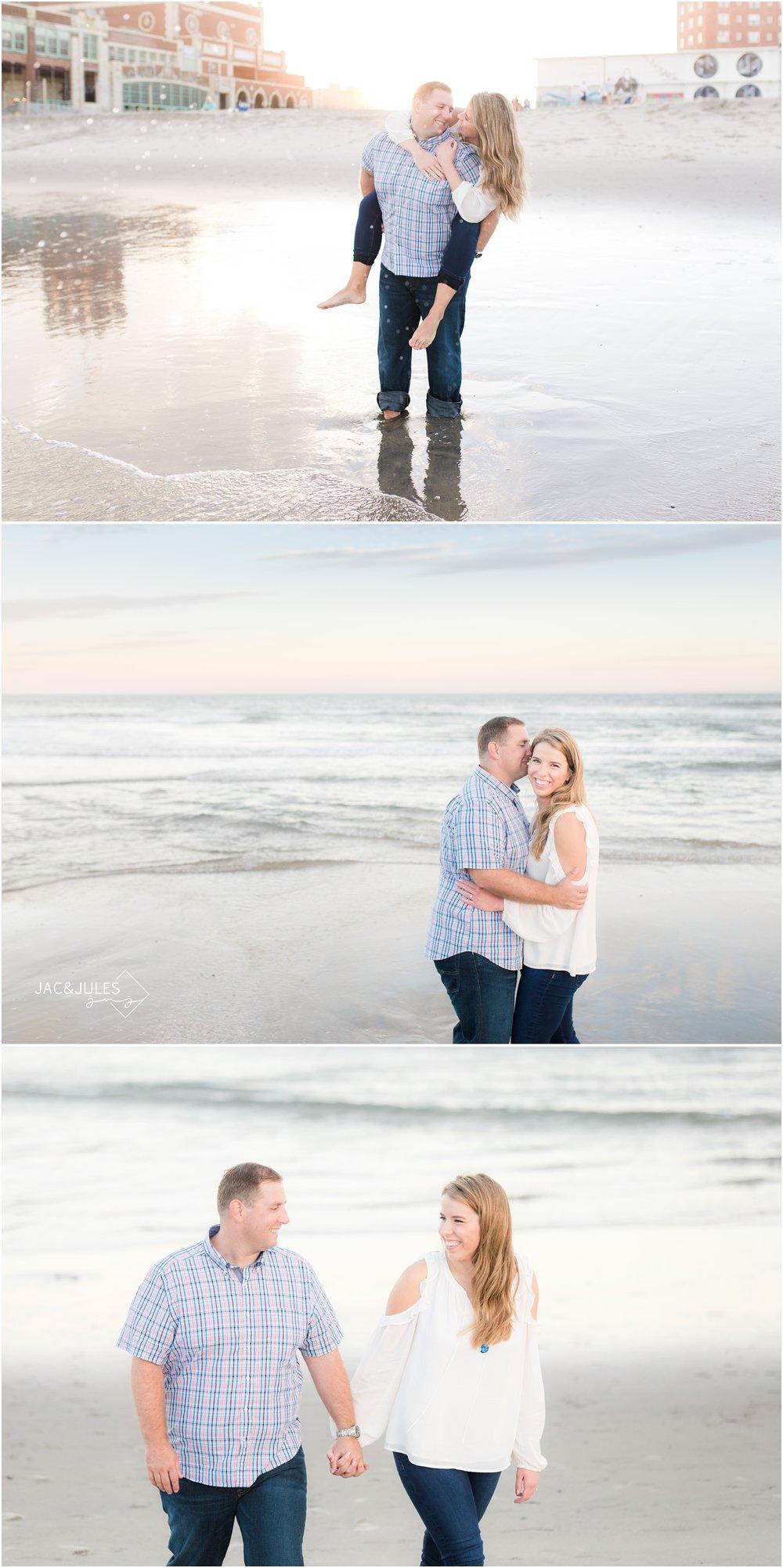 Romantic beach engagement photos in Asbury Park, NJ.